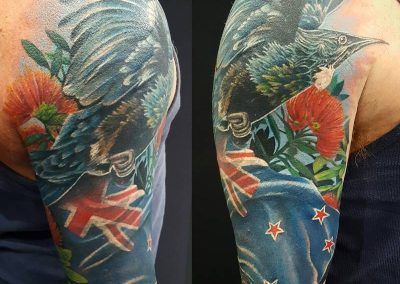 NZ flag tattoo, pohutakawa