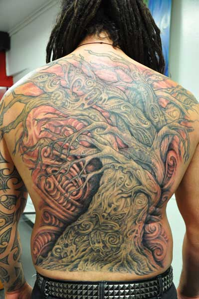 Maori, tree, back tattoo