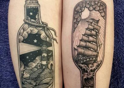 Ship, bottle, black & grey