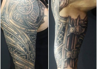 Black and grey armour, tattoo